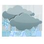 Couvert, chutes de neige modérée ou forte